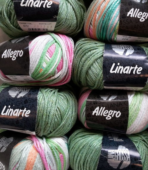 Mixpaket Allegro Dégradé+Linarte - Grün mit Farbmix Pink-Weiß-Grün 450g